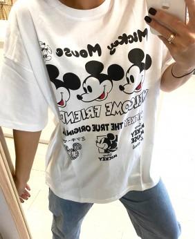 Camiseta Mickey Caras (Blanco)