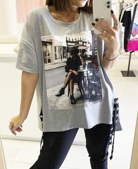 Camiseta Tiras (Gris)